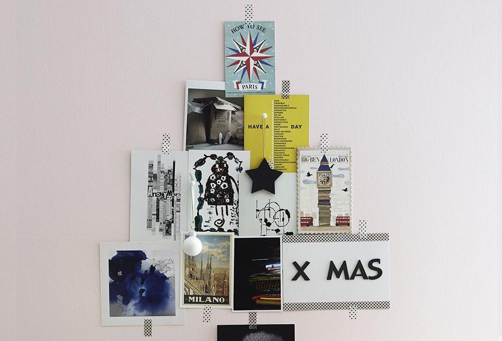 Albero di Natale fai-da-te fatto con cartoline e fotografie
