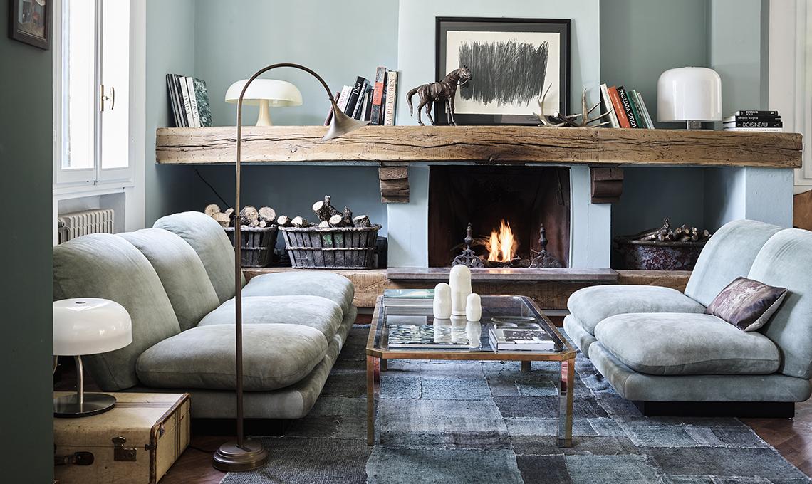 Pareti colorate e mobili vintage casafacile for Immagini pareti colorate soggiorno