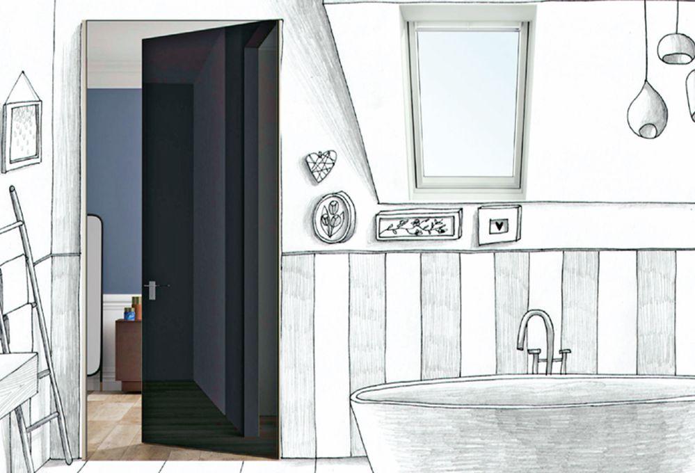 Porta nera e lucida abbinata alla finestra bianca: stile optical