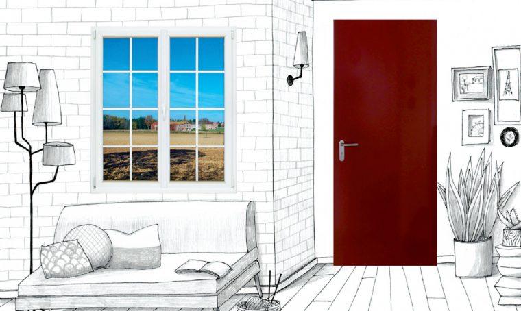 Finestra in pvc all'inglese abbinata alla porta in acciaio: stile new classic