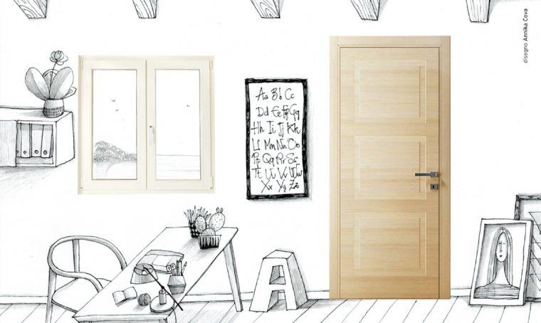 La finestra bianca in pvc abbinata alla porta in legno: stile nordico