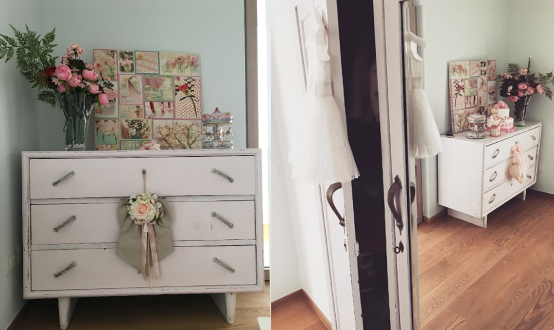CAMERETTE STILE COUNTRY CHIC - Comodino country chic con 1 ...