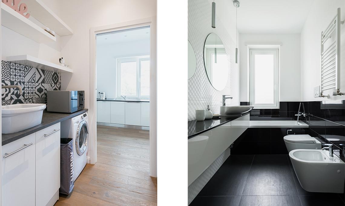 trilocale con lavanderia e due bagni