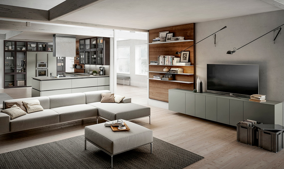 Cucina a vista scegli mobili uguali anche per il for Arredamento tinello soggiorno