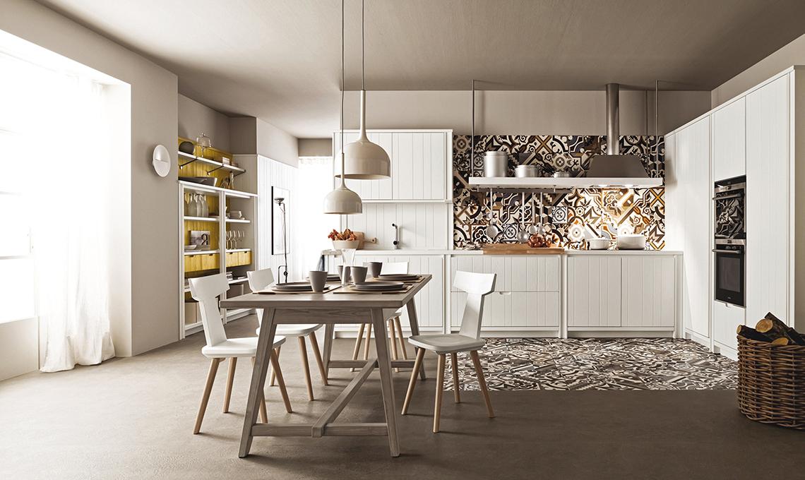 Aumenta lo spazio con la quinta che divide cucina e living for Interni case bianche