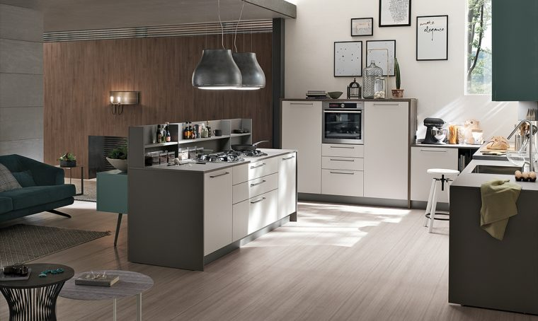 La cucina con isola effetto vedo-non-vedo