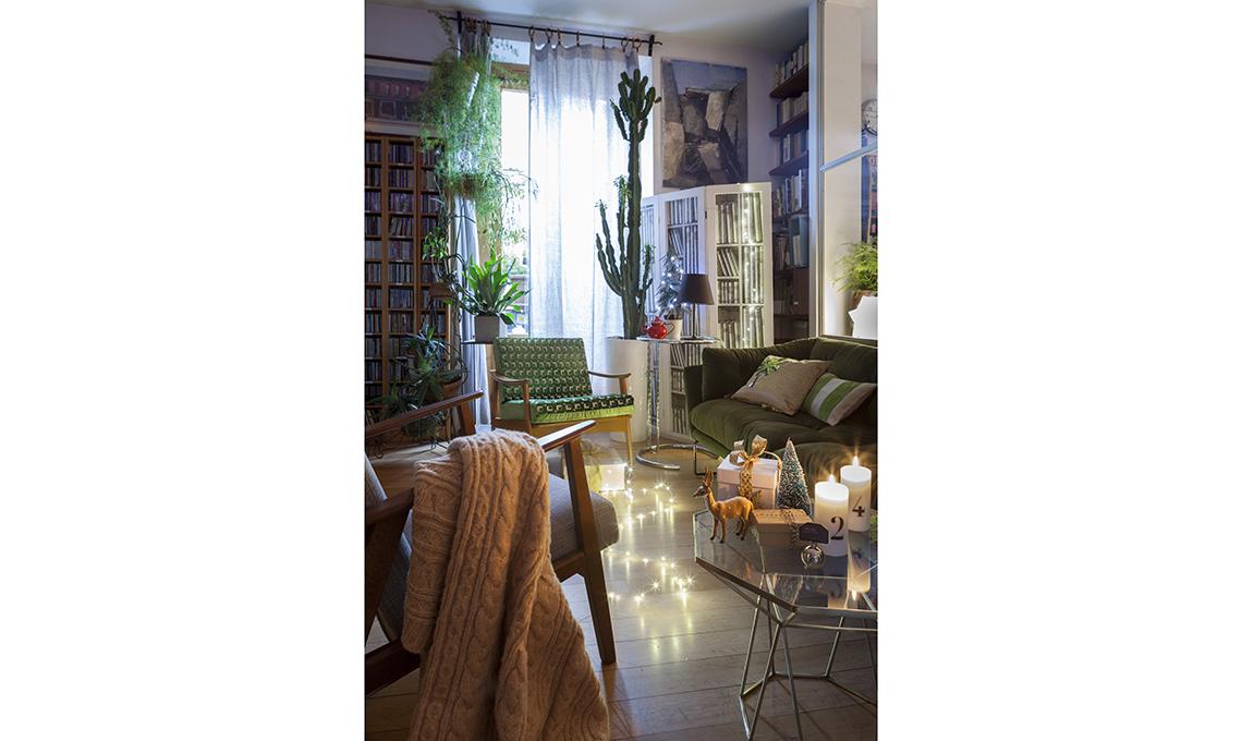 soggiorno decorato per Natale