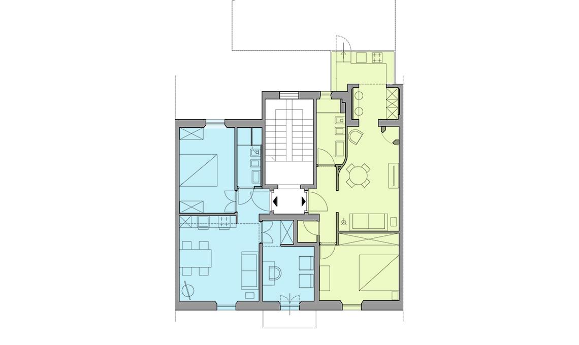 Ricavare un bilocale pi un trilocale da una casa di 100 - Progetto casa 100 mq ...