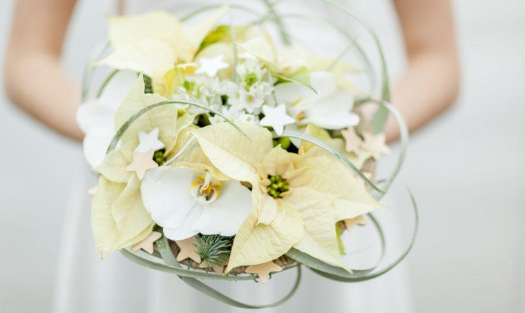 Bouquet di Stelle di Natale per la sposa d'inverno