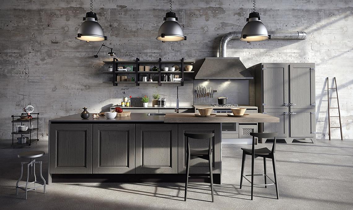 cucina con cappa in stile industriale