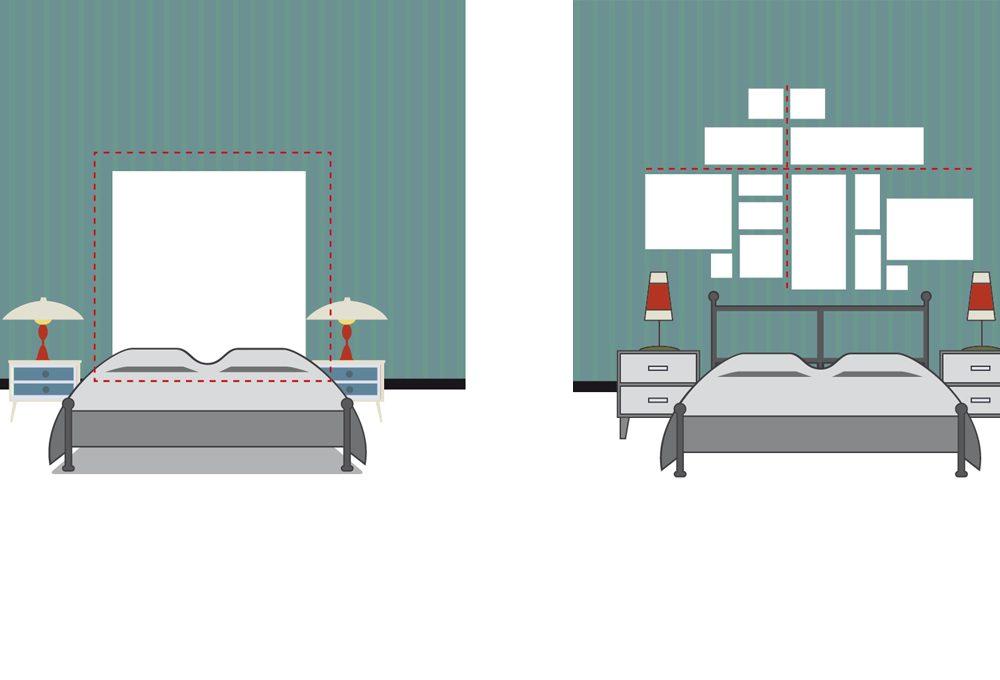 Appendere i quadri dietro al letto: effetto testiera o schema geometrico?