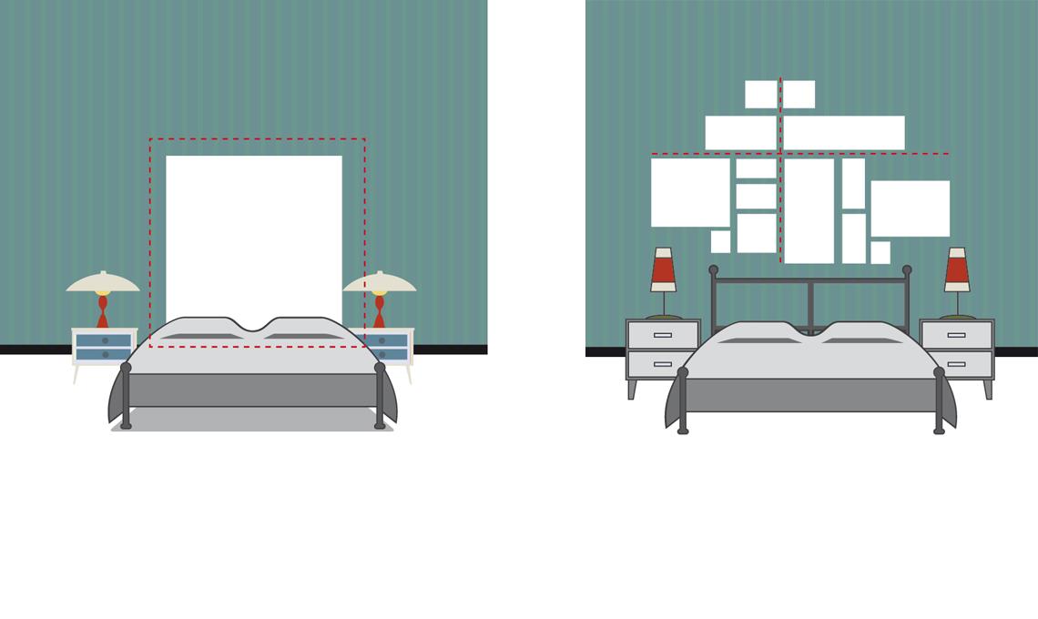 Appendere i quadri dietro al letto effetto testiera o - Quadri per testata letto ...