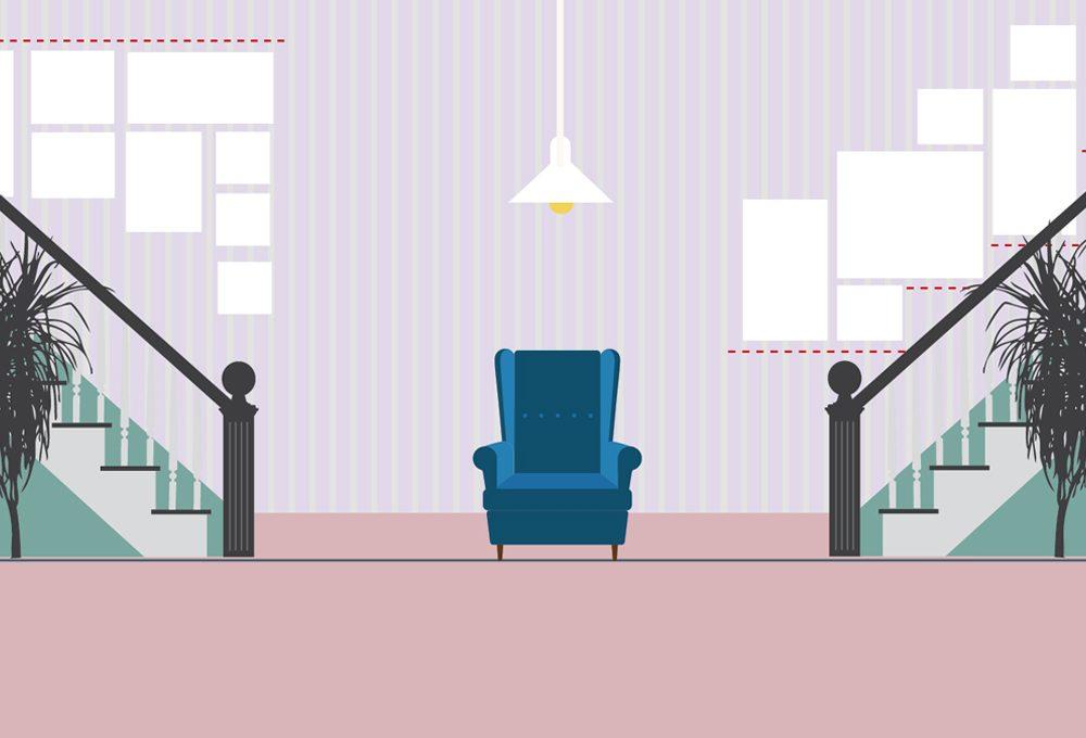 Appendere i quadri sulle scale: allineati al soffitto o a gradini?