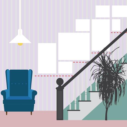 Disporre I Quadri Sulle Scale : Appendere i quadri sulle scale allineati al soffitto o a