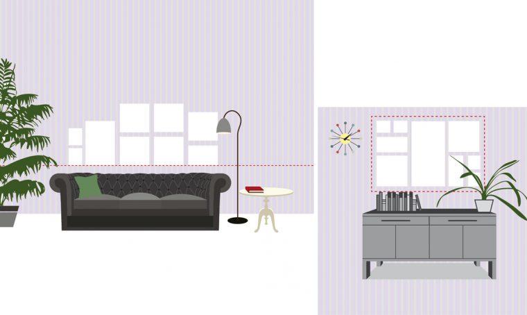 Appendere i quadri in soggiorno: allineati o a composizione?
