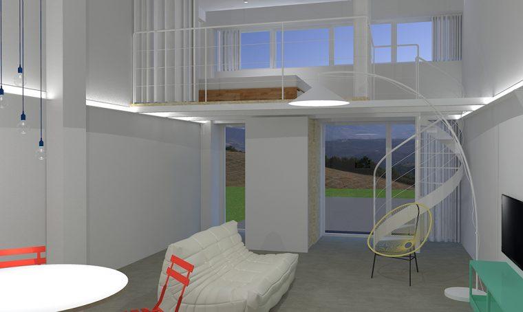 Il piccolo bilocale di 45 mq diventa una casa luminosa e for Piani di casa per case su due livelli