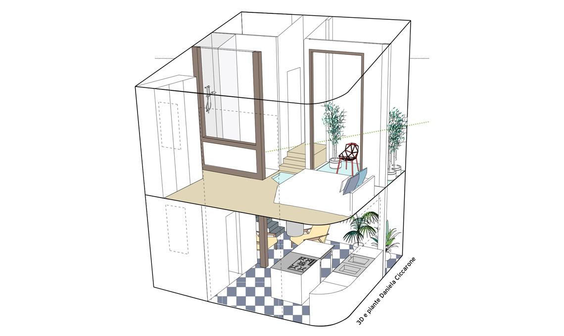 50mq su due piani la ristrutturazione di una mini casa for Piani di casa padronale inglese