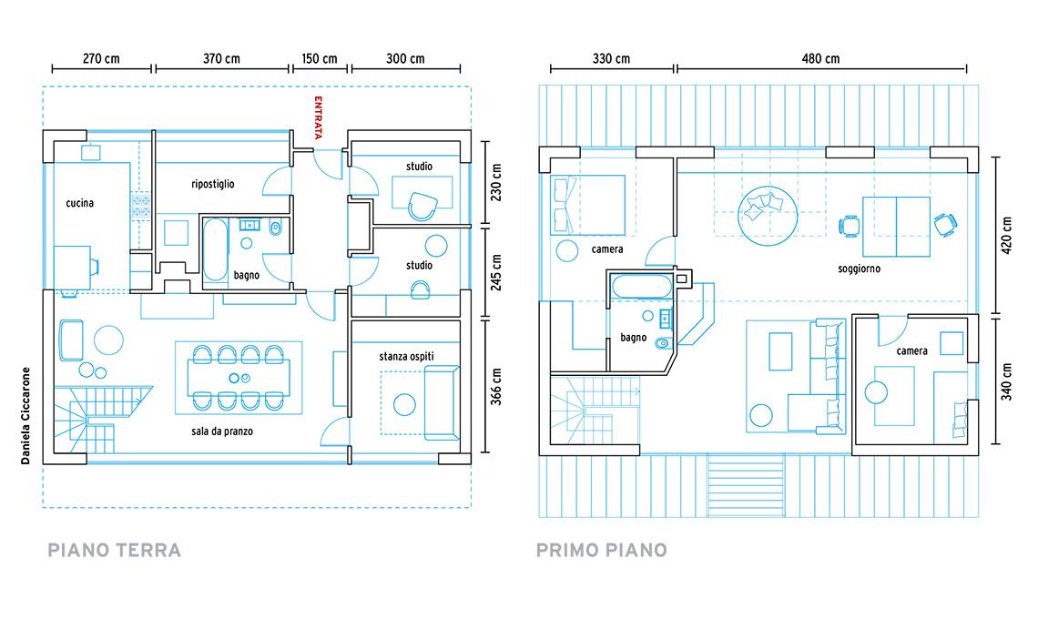 pianta casa su due piani