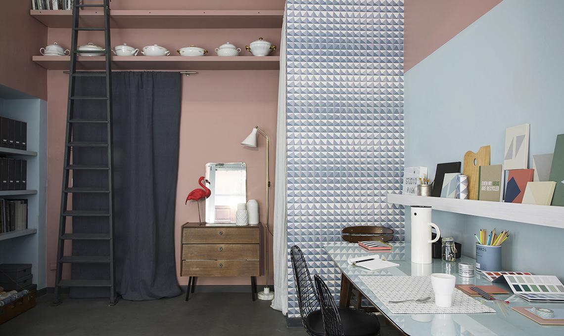 Una parete due colori idee e ispirazioni per arredare lo studio casafacile - Arredare studio in casa ...
