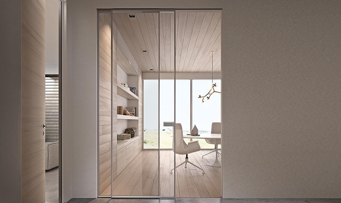 Porte Scorrevoli A Due Ante In Vetro.Porte Scorrevoli Per Dividere E Creare Una Stanza Nella Stanza