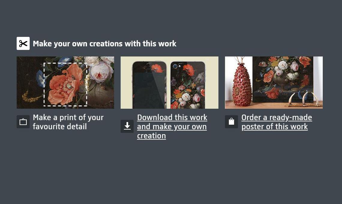 Un dettaglio del sito Rijks Studio, che spiega le ampie possibiltà di stampa e personalizzazione