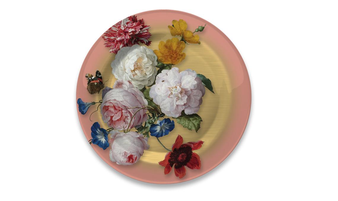 piatto in metallo stampato con fiori tratti dalla pittura fiamminga, merchandising del Rijksmuseum