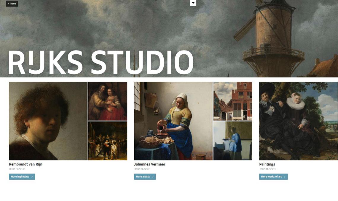 La homepage di Rijksstudio