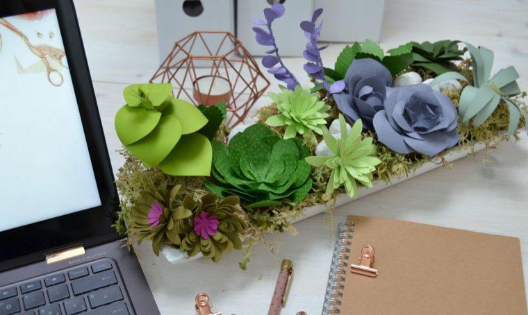Una composizione di piante grasse succulente di carta