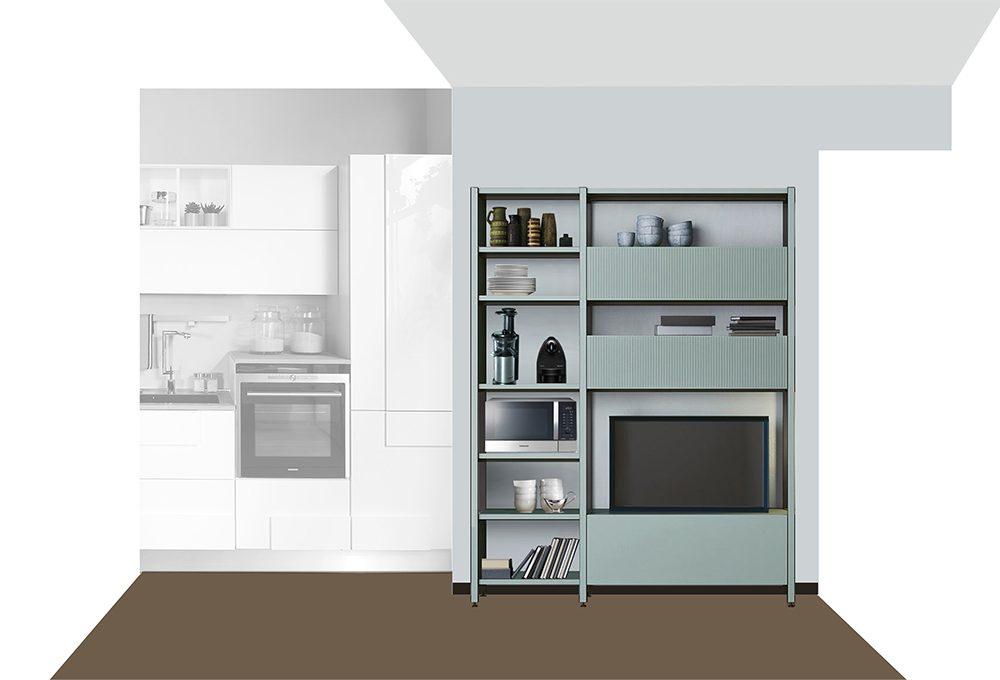 Cucina a vista: ecco un mobile TV multifunzione