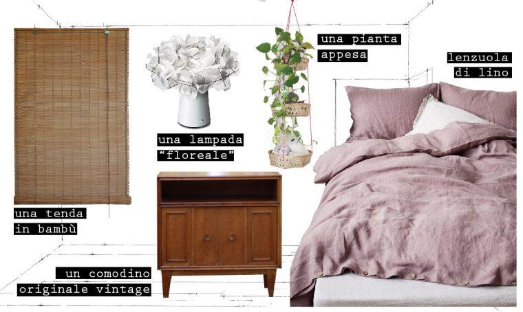 Una camera da letto fresca ed estiva con un tocco vintage