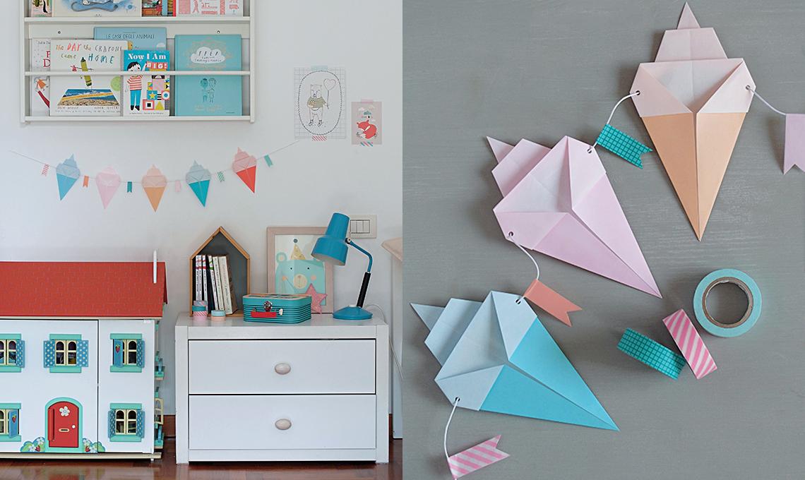 CasaFacile SSebastiani gelati origami ghirlanda pastello