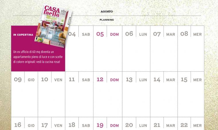 CasaFacile di agosto ti regala il planning del mese