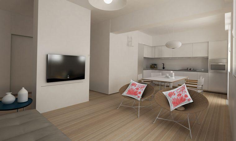 Il vecchio appartamento diventa uno spazio ampio e arioso