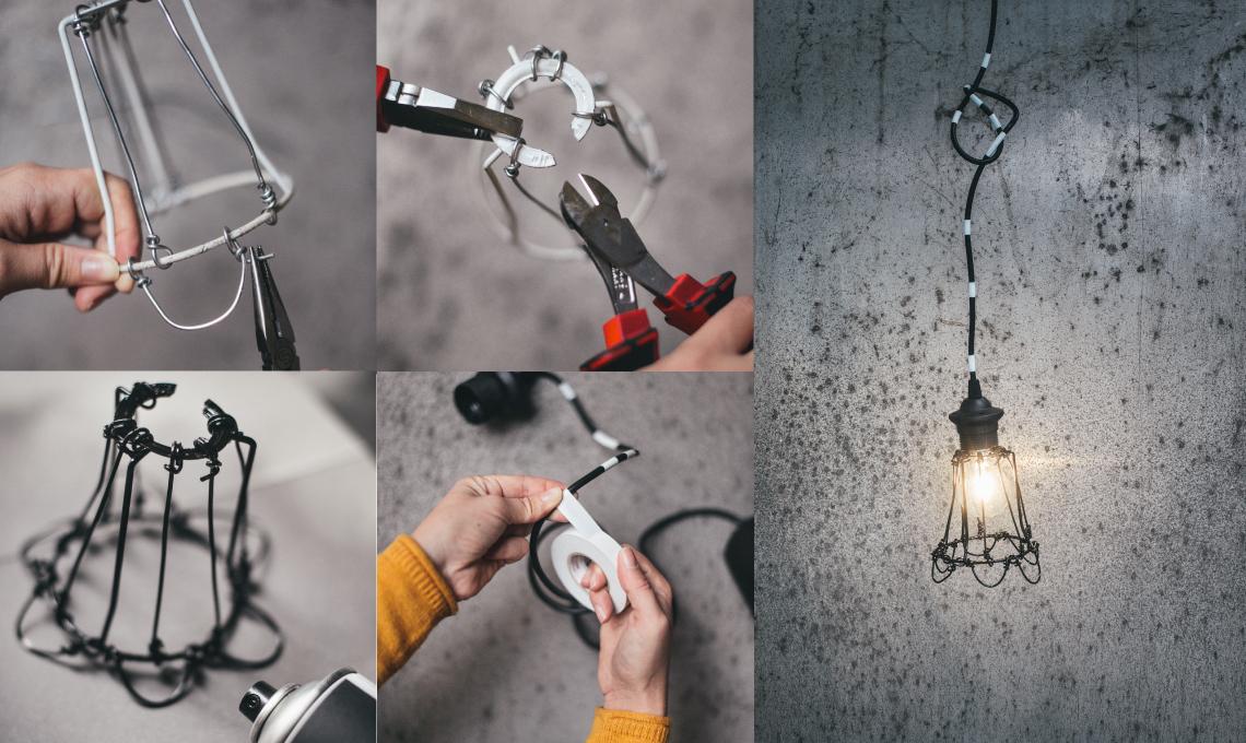 Lampadario Filo Di Ferro Fai Da Te : Lampada in stile industriale fai da te casafacile