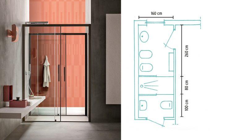 Una doccia 'passante' per duplicare il bagno