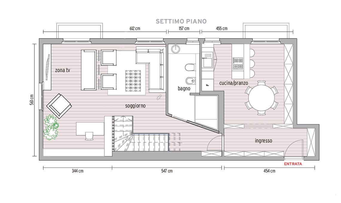 Ristrutturazione di un appartamento di 140 mq su due piani for Progetto di una casa