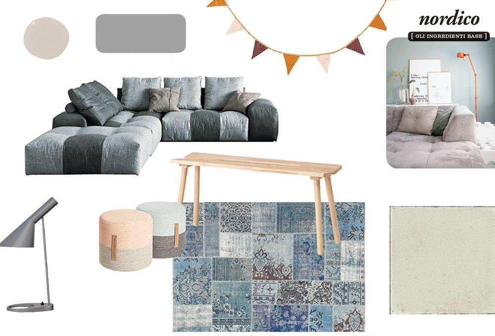 Il soggiorno in stile nordico
