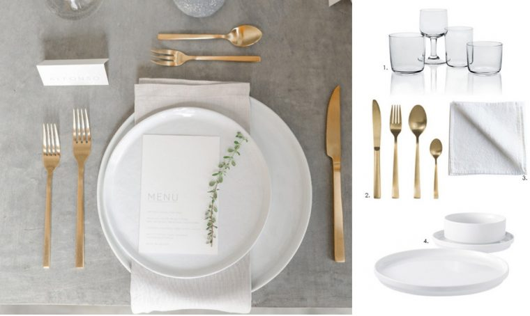Apparecchia la tavola con le posate dorate