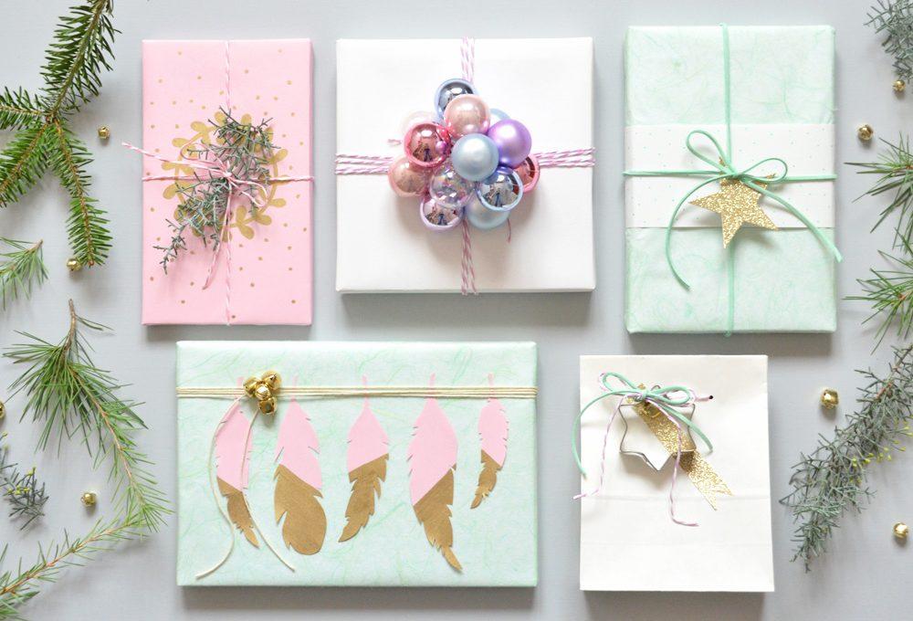 5 idee per realizzare pacchetti di Natale nei toni pastello