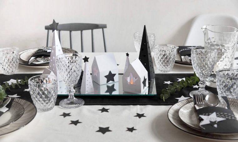 Centrotavola di Natale in bianco e nero