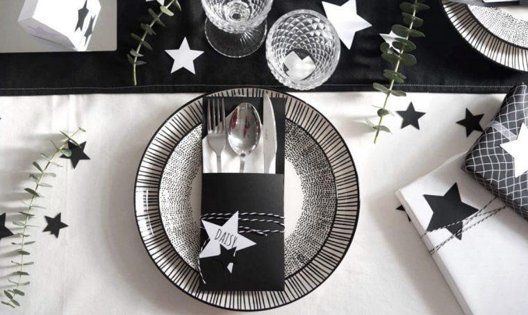 Segnaposto natalizio in bianco e nero