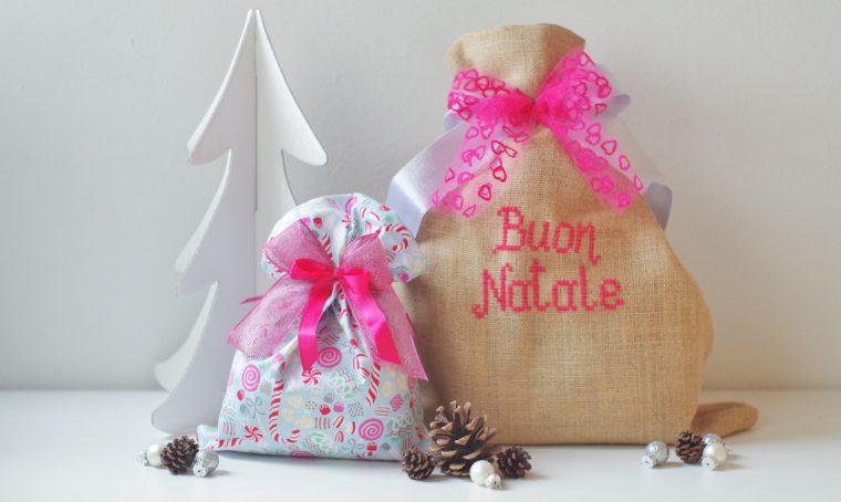 Sacchetti di stoffa e juta per i regali di Natale