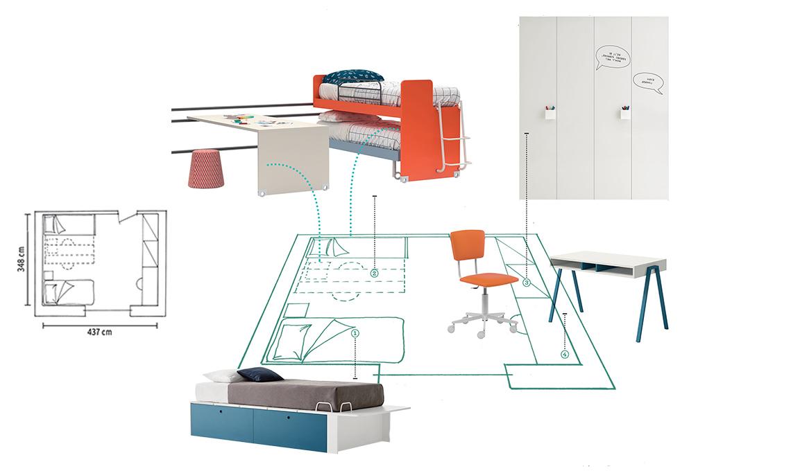 Progettare la cameretta per tre bimbi casafacile for Progettare la cameretta