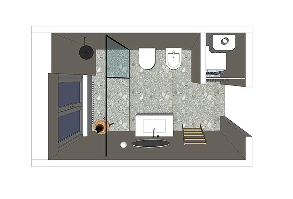 La doccia sotto la finestra ottimizza lo spazio in bagno