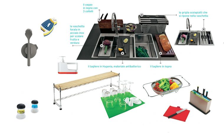 Gli accessori per il lavello della cucina che ti fanno risparmiare spazio e tempo