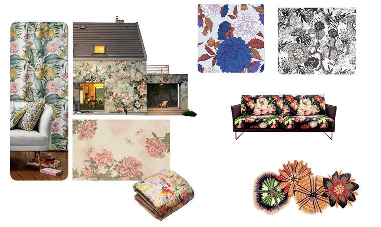 Trend 2019: fantasie floreali su tessuti e carte da parati