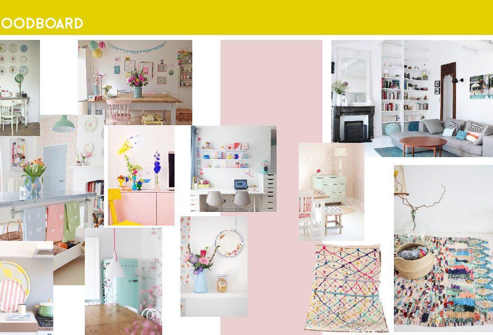 Consigli di colori per il soggiorno nei toni pastello