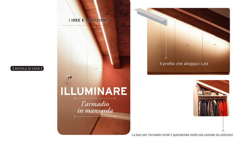Come illuminare l'armadio in mansarda