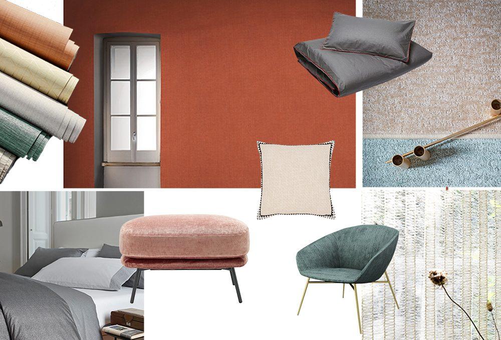 Trend 2019: tessuti e wallpaper tinta unita effetto 3D