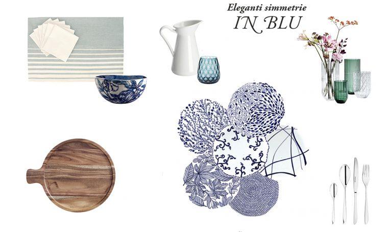 Tavola: eleganti simmetrie in blu per la 'mise en place'